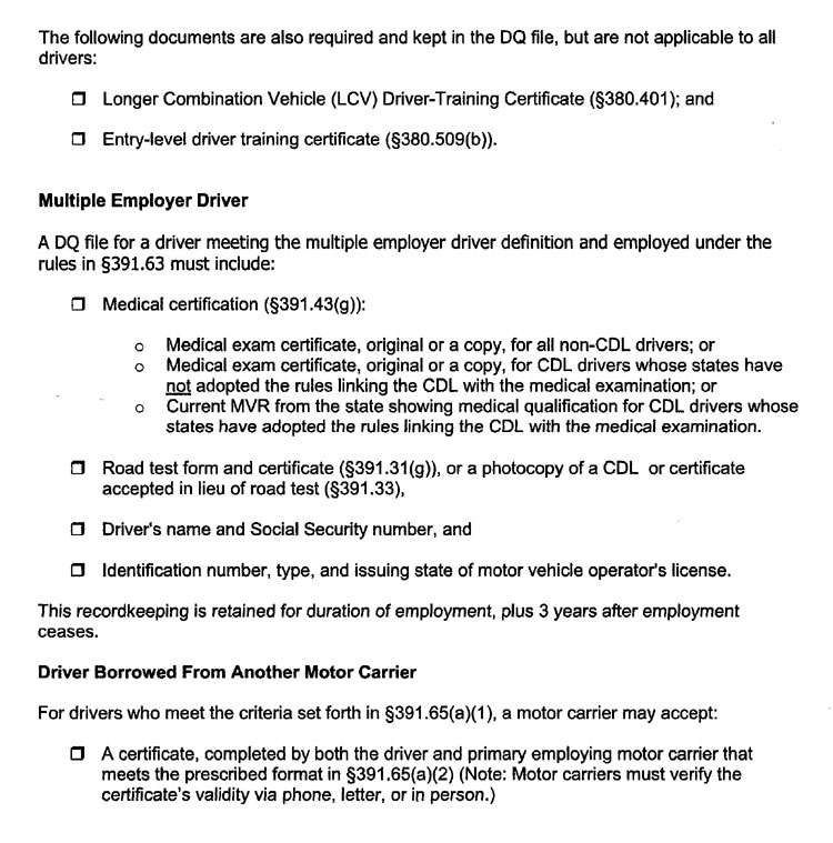 Driver hiring checklist for Motor carrier certificate of registration
